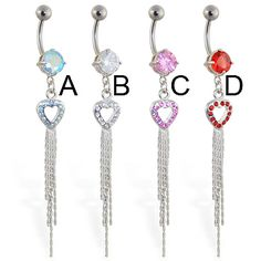 Belly button ring with heart and five dangles