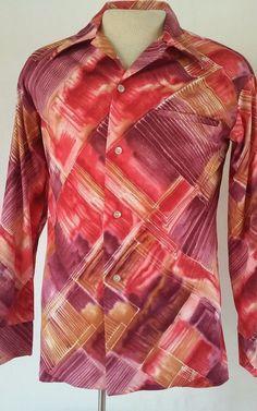 Vintage HOLO HOLO Men's Multi-color Red Polyester Long Sleeve Disco MEDIUM Shirt