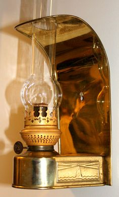 Brass Hanging Kerosene wall lamp by DHR with (the wrong) Glass hurricane shade by NancysAccessories on Etsy
