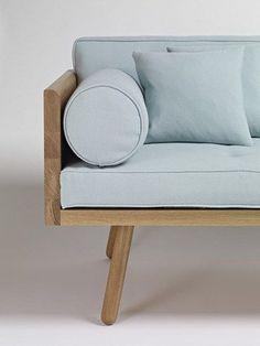 light blue and wood sofa - love!