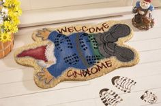 "Hilarious ""trampled"" Gnome welcome mat. Great for gnome fans! Welcome Gnome! Funny Garden Gnomes, Gnome Garden, Lawn And Garden, Gnome Door, Gnome House, Baumgarten, Collections Etc, Fairy Doors, Welcome Mats"