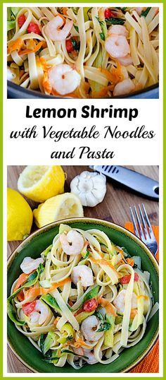 This light and healthy seafood dish is perfect for hot spring or summer days! Give my lemon shrimp with vegetable noodles and pasta recipe a try! Fish Recipes, Seafood Recipes, Pasta Recipes, Noodle Recipes, Pot Pasta, Shrimp Pasta, Vegetable Noodles, Low Calorie Dinners, Pasta