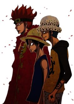 One Piece, Eustass Kid, Monkey D. Luffy, Trafalgar Law