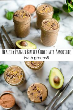 My daughter is obsessed with chocolate smoothies at the moment (and honestly, who can blame her). This Health Peanut Butter Chocolate Smoothie (with greens!) is a frequent flyer in our house and is rumored to have won over many green smoothie haters.  It's a great breakfast on those busy mornings or a simple snack that gets extra veggie goodness into those bellies