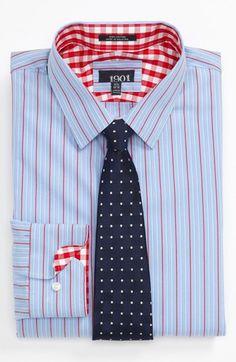 Men: Mix a striped shirt with a polka dot tie