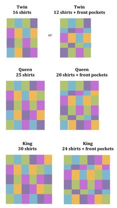 T-Shirt Quilts - good idea of how many shirts it will take. I don't ever want to make a tshirt quilt, but this is good info just in case I change my mind. T-shirt Quilts, Patchwork Quilt, Scraps Quilt, Star Quilts, Cute Crafts, Crafts To Do, Diy Crafts, T Shirt Crafts, Patch Quilt