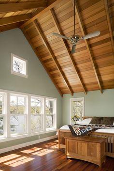wood ceiling wood floor    Interior and Exterior Views - eclectic - bedroom - bridgeport - Tate + Burns Architects LLC