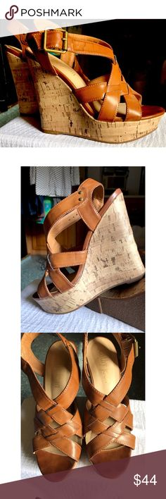 "Kathy Jean Tan Leather Wedges Beautiful tan leather wedges that go with everything in your closet!  Tried on but never worn outside.  NWOT 4"" wedge with 1"" platform Kathy Jean Shoes Wedges"