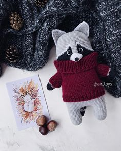 knitted raccoon amigurumi hand-knitted toy handmade funny toy raccoon eco toys miracle crocheted toy gifts stuffed toy home decor doll toys Cute Crochet, Crochet Dolls, Crochet Gifts, Crochet Baby, Beautiful Crochet, Handmade Baby, Handmade Toys, Funny Toys, Rabbit Toys