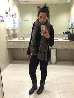 All black, grey scarf