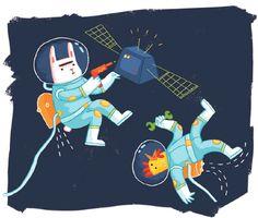 Animals in space | Illustration by Susanna Rumiz