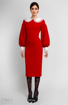 Long-sleeve slim-fit red dress trimmed with cotton and genuine silk. Back buttons down. Turndown cotton collar. Without pockets. On the photo: model is wearing a size S and is 176 cm.