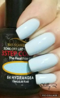 Bio Seaweed gel.  Hydrangea..  similar to Essie Borrowed and blue. 2/17/17 Trugel base and top