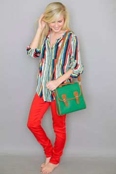 Red jeans, bright pattern *really like this!*