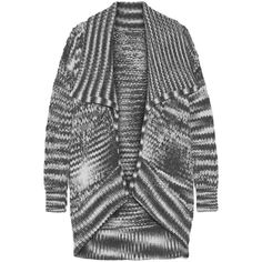 Donna Karan New York Draped chunky-knit alpaca-blend cardigan ($2,170) ❤ liked on Polyvore featuring tops, cardigans, grey, donna karan tops, drapey tops, chunky knit cardigan, donna karan and drape cardigan