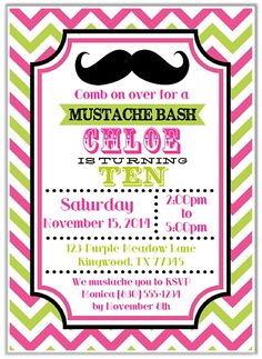 Mustache Girl Birthday Party Invitations   $1.00 each http://www.festivityfavors.com/item_849/Mustache-Girl-Birthday-Party-Invitations.htm