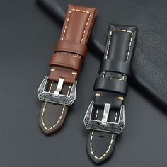 >> Click to Buy << Fast shipping Oily bright Leather Watchband 22mm 24mm Handmade Men's Brown black Pattern buckle Watch Strap For Panerai + Tool #Affiliate