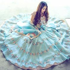 Every Designer Bridal Sale You Need To Know About Right Now - Mint blue floral bridal lehenga. Diwali Photography, Photography Poses, Wedding Photography, Lehenga Gown, Bridal Lehenga, Lehnga Dress, Indian Dresses, Indian Outfits, Ritu Kumar