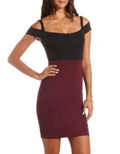 4/12/15  Purchase at Charlotte Russe Colorblocking       Brand/Designer: Charlotte Russe     Material: Knit     Dress Silhouette: Bodycon     Neckline: Scoop Neck     Skirt: Pencil Skirt     Embellishments: Colorblocking Stretchy     Size Category: Adult     Available Colors: Oxblood