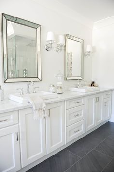 Beautiful bathroom decor some ideas. Modern Farmhouse, Rustic Modern, Classic, light and airy master bathroom design some ideas. Bathroom makeover ideas and bathroom renovation ideas. White Vanity Bathroom, Grey Bathrooms, Beautiful Bathrooms, Bathroom Mirrors, Bathroom Lighting, Modern Bathroom, Dark Floor Bathroom, Master Bathrooms, Framed Mirrors