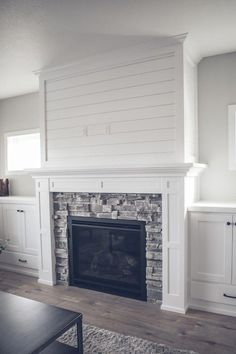 Image result for grey stacked stone fireplace white built ins #Livingroomdesigns White Shiplap, Stacked Stone Fireplaces, Clerestory Windows, Interior Design, Fireplace Ideas, Wingback Chair, Home Decor, Nest Design, Homemade Home Decor
