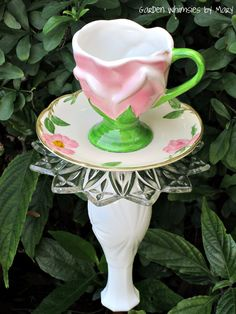 Garden Totem Stake Pink Petals Teacup Birdfeeder - As Featured in Valley Homes & Style Magazine. $30.00, via Etsy.