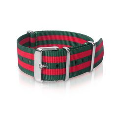 Nato Strap | Green Red Double Strips ( 22 mm)