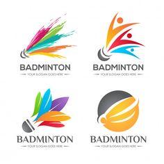 Badminton shuttlecock logo set Premium V. Badminton Logo, Badminton Shirt, Olympic Games Sports, Olympic Gymnastics, Badminton Pictures, Light Bulb Symbol, Wooden Bird Houses, Mehndi Style, Purple Balloons