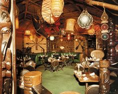 The interior of the Luau Beverly Hills in 1950 shows a mix of the tropical Tiki, beachcomber, and trader aesthetics.