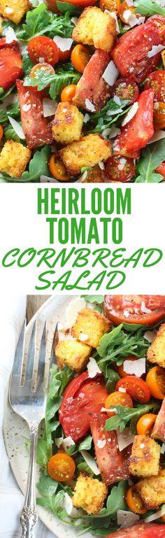 Heirloom Tomato Cornbread Salad - easy, fresh, delish! Heirloom tomatoes, homemade cornbread, white balsamic, olive oil, & shaved Parmesan on baby arugula.  http://tasteandsee.com