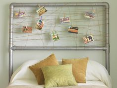 Create a headboard that mixes industrial and country design styles by using PVC pipes and twine.