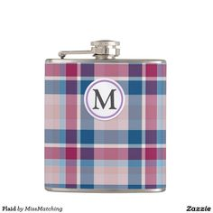 Plaid Personalized Hip Flask