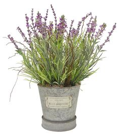 French Bee Faux Florals- Lavender Bunch in Metal Tin