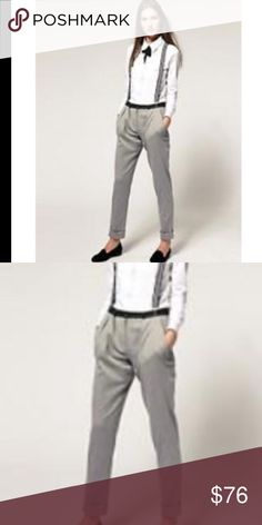 NWT ASOS Pegleg skinny pant trouser suspenders 6 NWT AUTH ASOS BRAND Gray Pegleg skinny pants trousers w suspenders WMNS SZ 6 $98  100% Authentic ASOS BRAND  Size: WOMENS size 6 US (10 UK) (REG) Color: Gray Condition:  New with tags, store display; *see photos for specific detail All reasonable offers accepted and encouraged! Combined shipping discount with purchase of additional items. All items come from a CLEAN, SMOKE-FREE home ASOS Pants Tomboy Outfits, Casual Outfits, Blue Suit Wedding, Skinny Pants, Men's Formalwear, Asos, Navy Suits, Trousers, Fashion Design