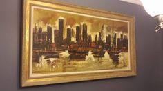 Mid Century Modern Oil Paint on Canvas Cityscape