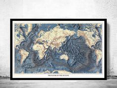 Old World Map Atlas The Floor of the Ocean Vintage Antique Prime Meridian is Greenwich. Projection is Mercator. Topics include: topography of land and ocean floorsThe Map is available in various dimensionsIt has and extra 0,2 white border for fram...