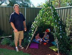 How to video!  Kids' garden teepee with bamboo poles, here planted with sweet pea and star jasmine.