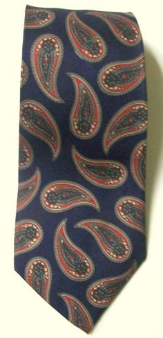 """Vintage KRALL'S Ltd. Blue & Red Paisley All Silk Handmade Neck TIE 3.75"""" x 59""""   #KrallsLtd #NeckTie"""