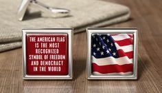Personalized USA Old Glory Flag Cufflinks - American Flag Cuff Link - Patriotic Flag Gifts - Wedding Cufflink - Birthday Present - Mens Gift