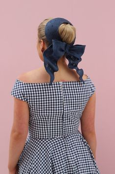 Design: Bodice pattern Vogue 9355 with circle skirt with quarter circle godet Fabric: Navy and white gingham from Spotlight Abby Bow Headpiece: Lauren J Ritchie Shoes: Wittner Stakes Day, Spring Racing Carnival, Bodice Pattern, Navy And White, Headpiece, Gingham, Sewing Projects, Sisters, Two By Two