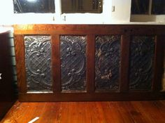 Door Headboard with Antique Ceiling Tin