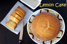 Eggless Lemon Cake with Lemon Glaze. A soft, spongy and tangy Lemon Cake with a delicious lemon glaze on top. Eggless Lemon Cake, Vegan Lemon Cake, Lemon Icing, Eggless Baking, Vegan Baking, Vegan Food, Egg Recipes, Cake Recipes, Eggless Recipes