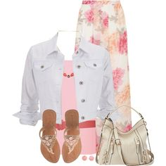 """White Denim Jacket & Floral Maxi Skirt"" by daiscat on Polyvore"