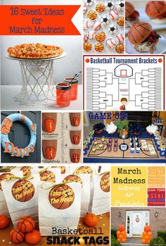 March Madness – 16 Sweet Ideas - Recipes, treats, snacks, printables, game day, bracket printable, decor, so many basketball ideas!