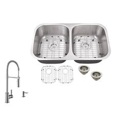 Superior Sinks 32.25-in x 18.5-in Brushed Satin Double-Basin Undermount Commercial/Residential Kitchen Sink All-In-One Kit