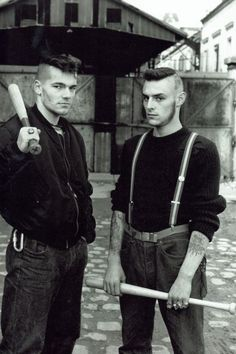 Members of Red Warriors, An Antifascist skinhead group that existed in Paris from 1986 to 1992, Photo taken in Paris in the late 1980's