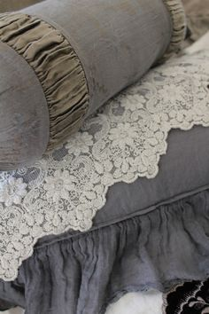 Beautiful linens in gray - grey, with white lace from Trouvais.