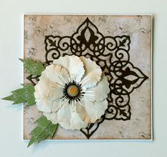 Card with flower and doily - Joy star doily, build a flower Cherry Lynn die Studiolight Vintage line paper pad - JKE