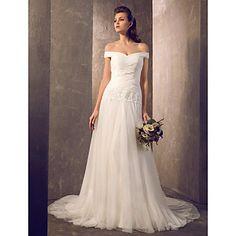 Sheath/Column Off-the-shoulder Sweep/Brush Train Tulle Wedding Dress – GBP £ 84.51