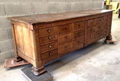 Ancienne et grande banque table de drapier ou tapissier - Quincaillerie ancienne meuble ...